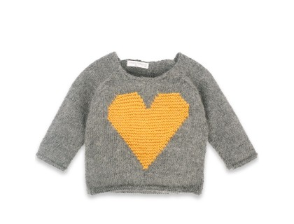 Agénor sweater grey with yellow heart wool alpaca