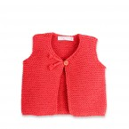 Baby sleeveless cardigan made from cotton - coral coloured