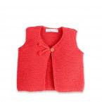 Gilet sans manche bébé  tricoté en point mousse coloris