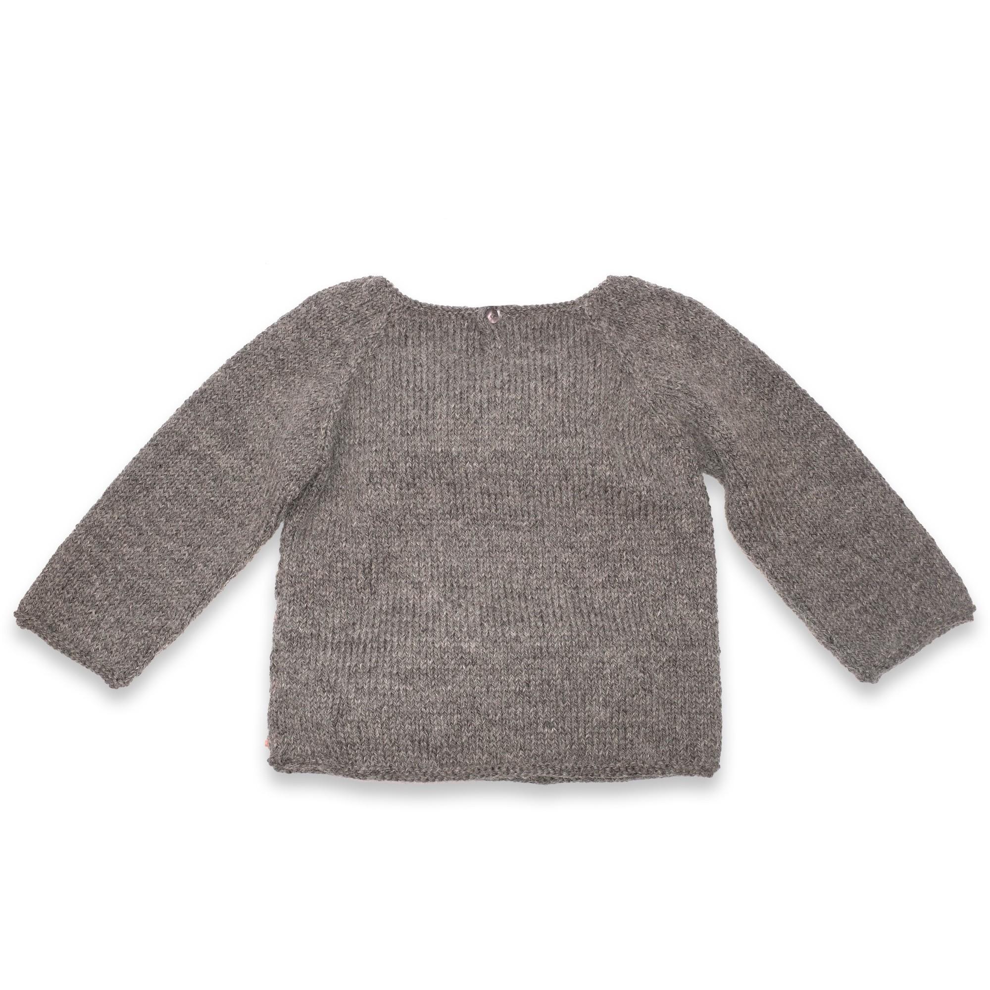 Pull Eugène bébé gris laine alpaga dos