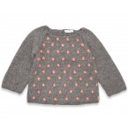 Eugène sweater baby grey with pink nopes wool alpaca