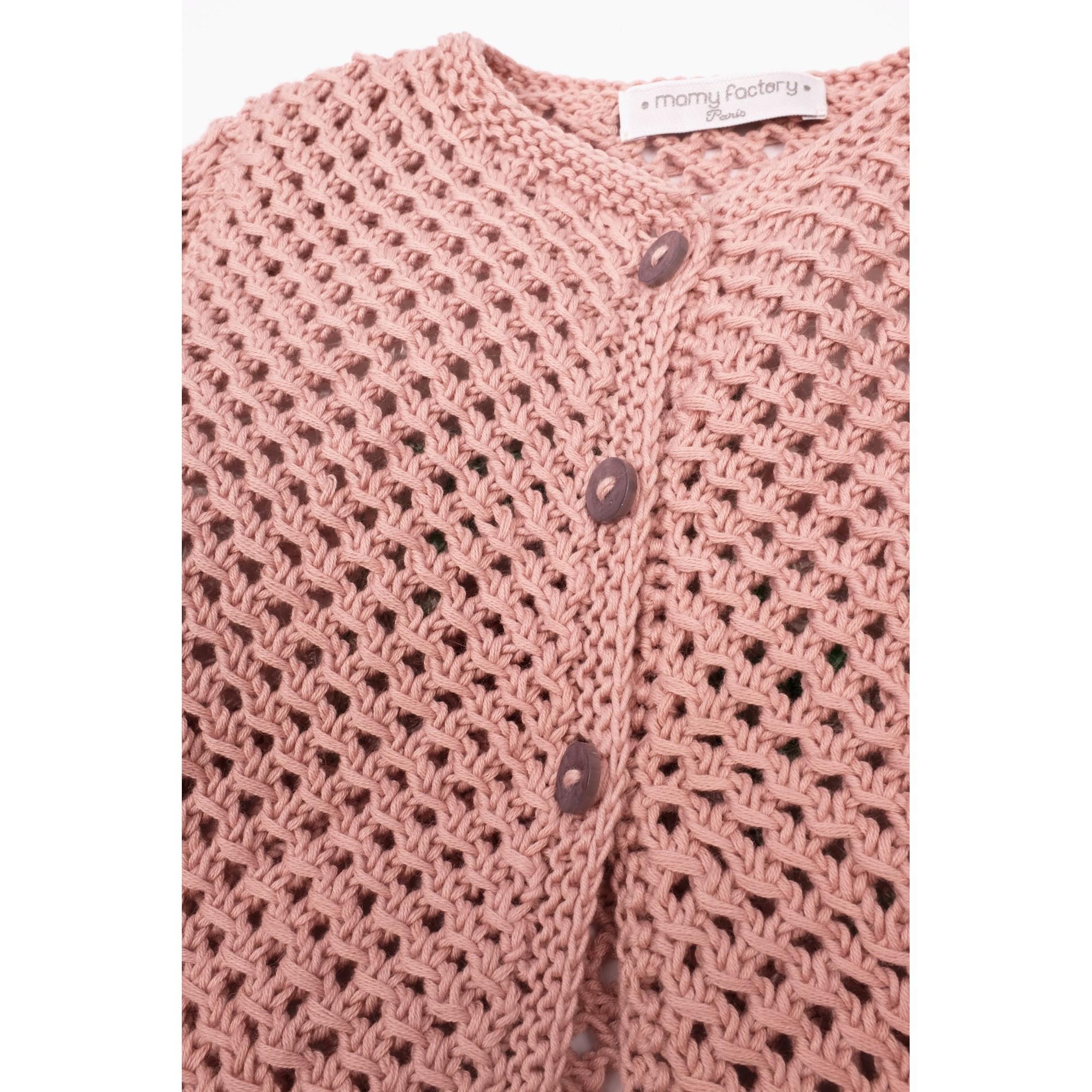 Joséphine cardigan opaline pink cotton detail 3
