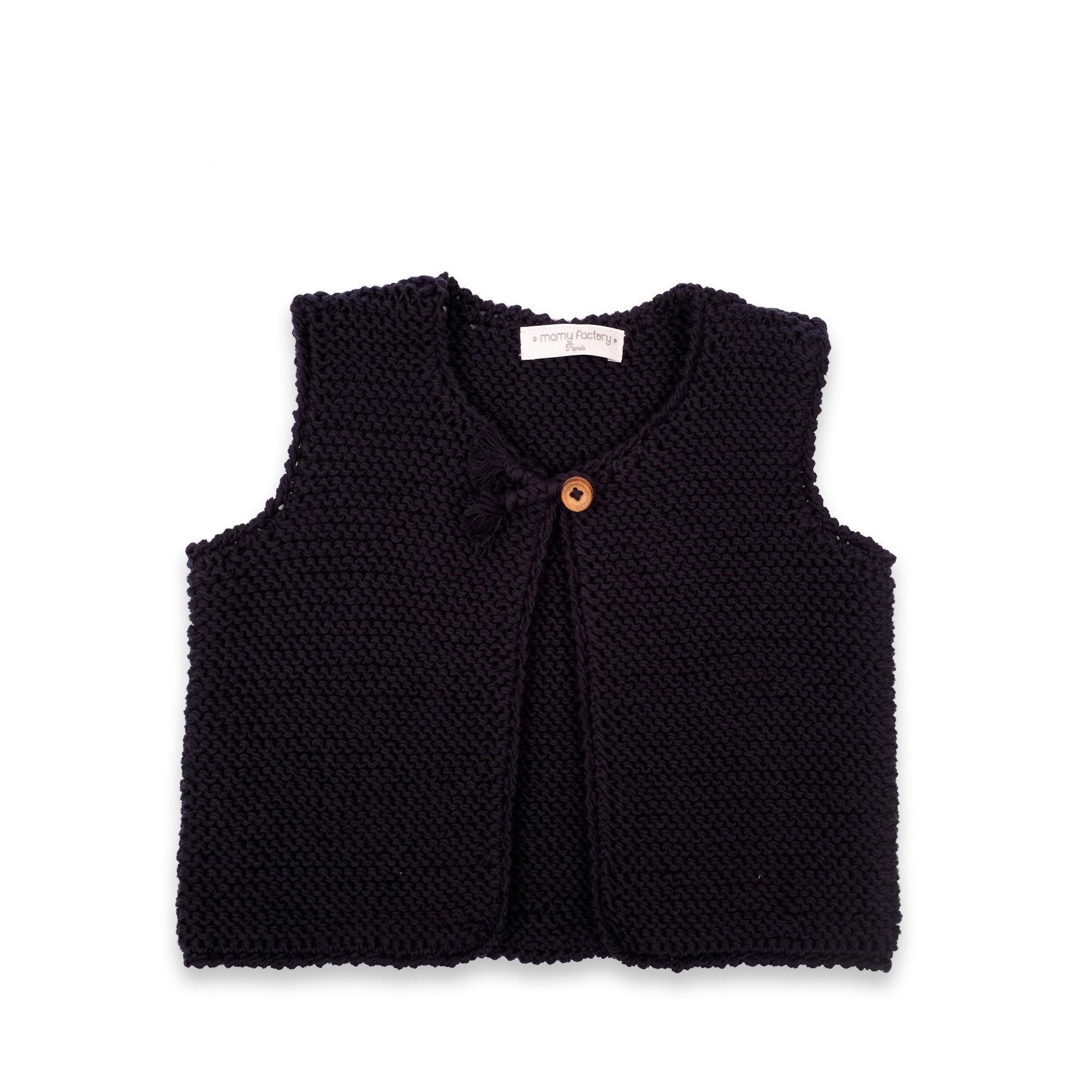 les tricots de mamy gilet b b sans manches bleu marine tricot en point mousse ferm par un. Black Bedroom Furniture Sets. Home Design Ideas