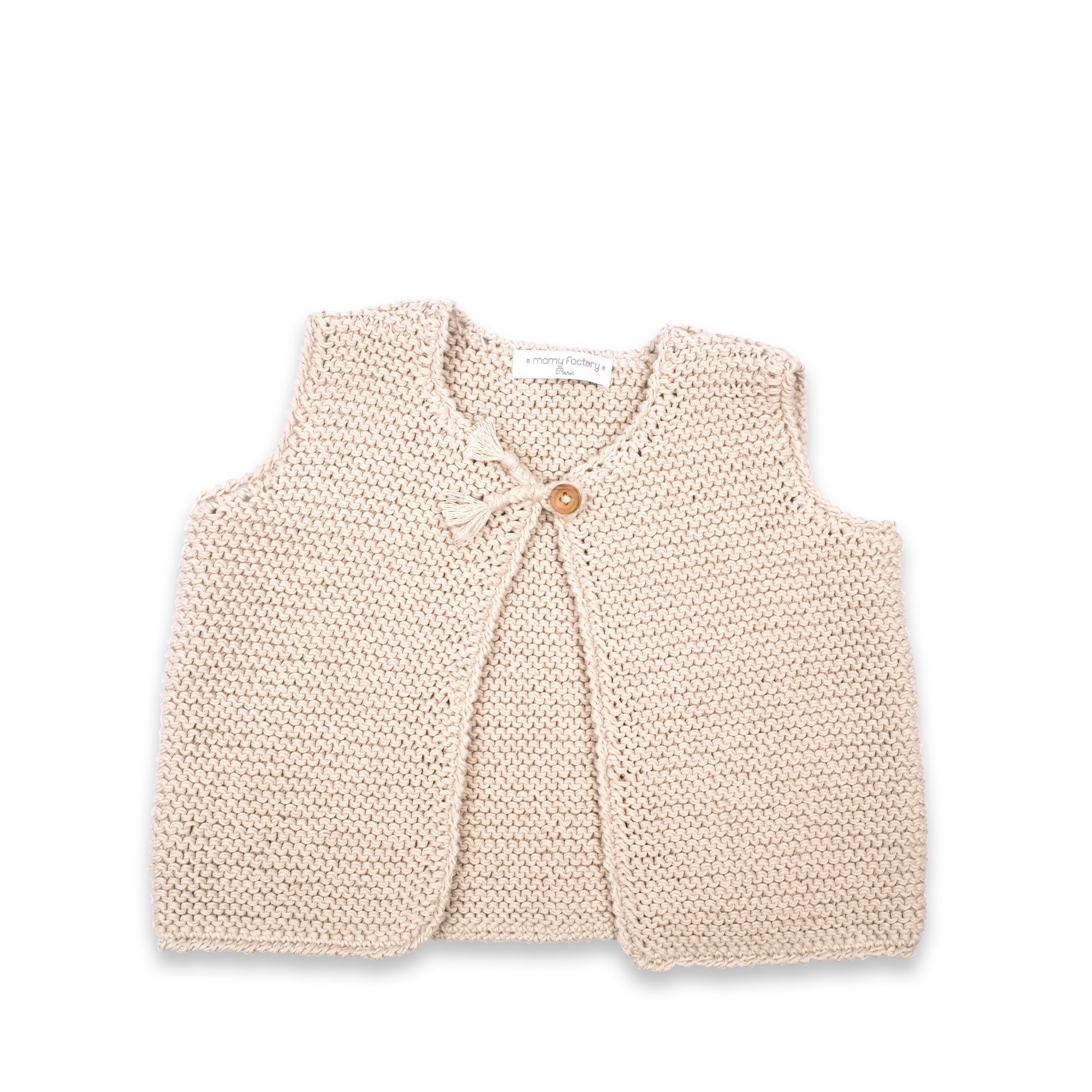 cc4e27e58121 Les tricots de mamy - Gilet bébé sans manches sable tricoté en point ...