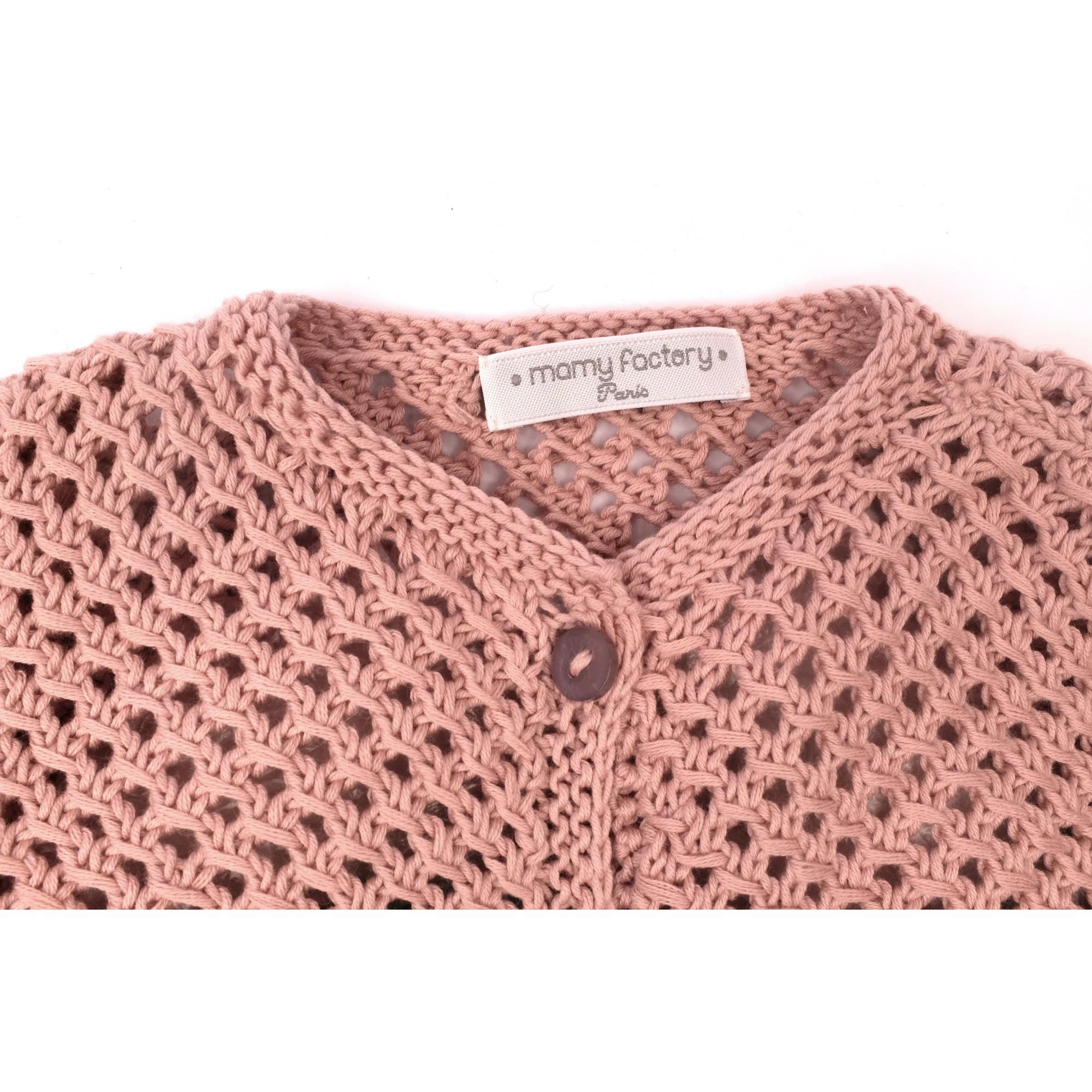 Gilet Joséphine rose opaline coton détail