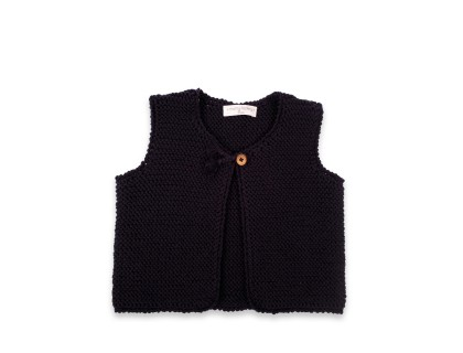 Lucette sleeveless cardigan navy blue 100% cotton