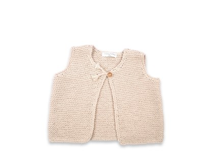 Lucette sleeveless cardigan sand 100% cotton