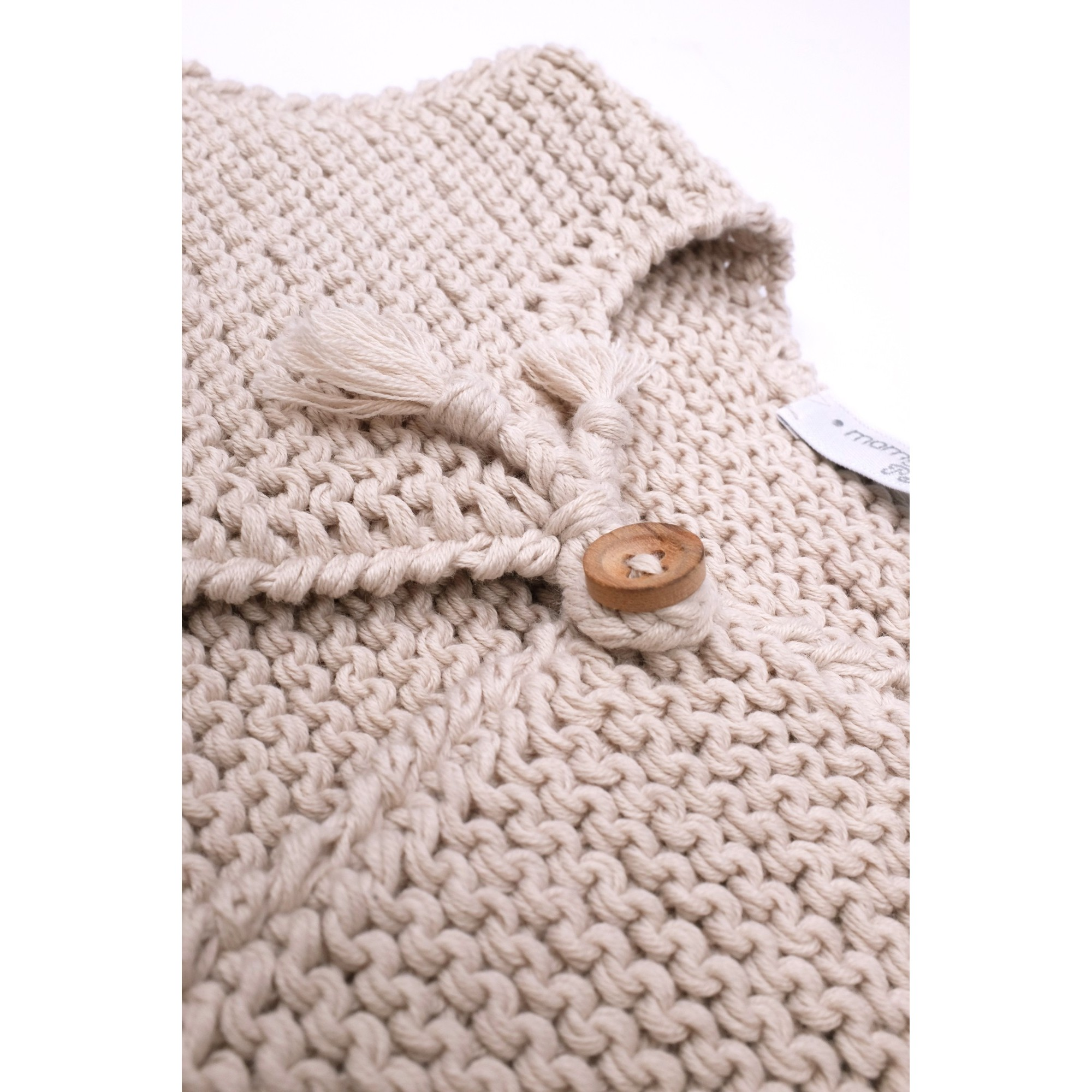 Grannys Knitwear Sand Kid Sleevless Cardigan Handknitted In