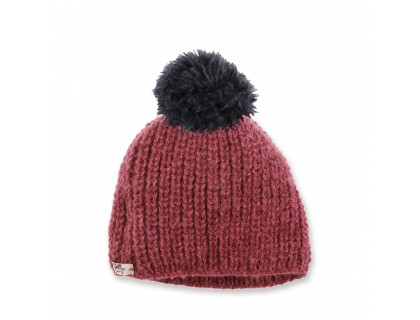 Fernand beanie, rhubarb coloured with navy blue pompom