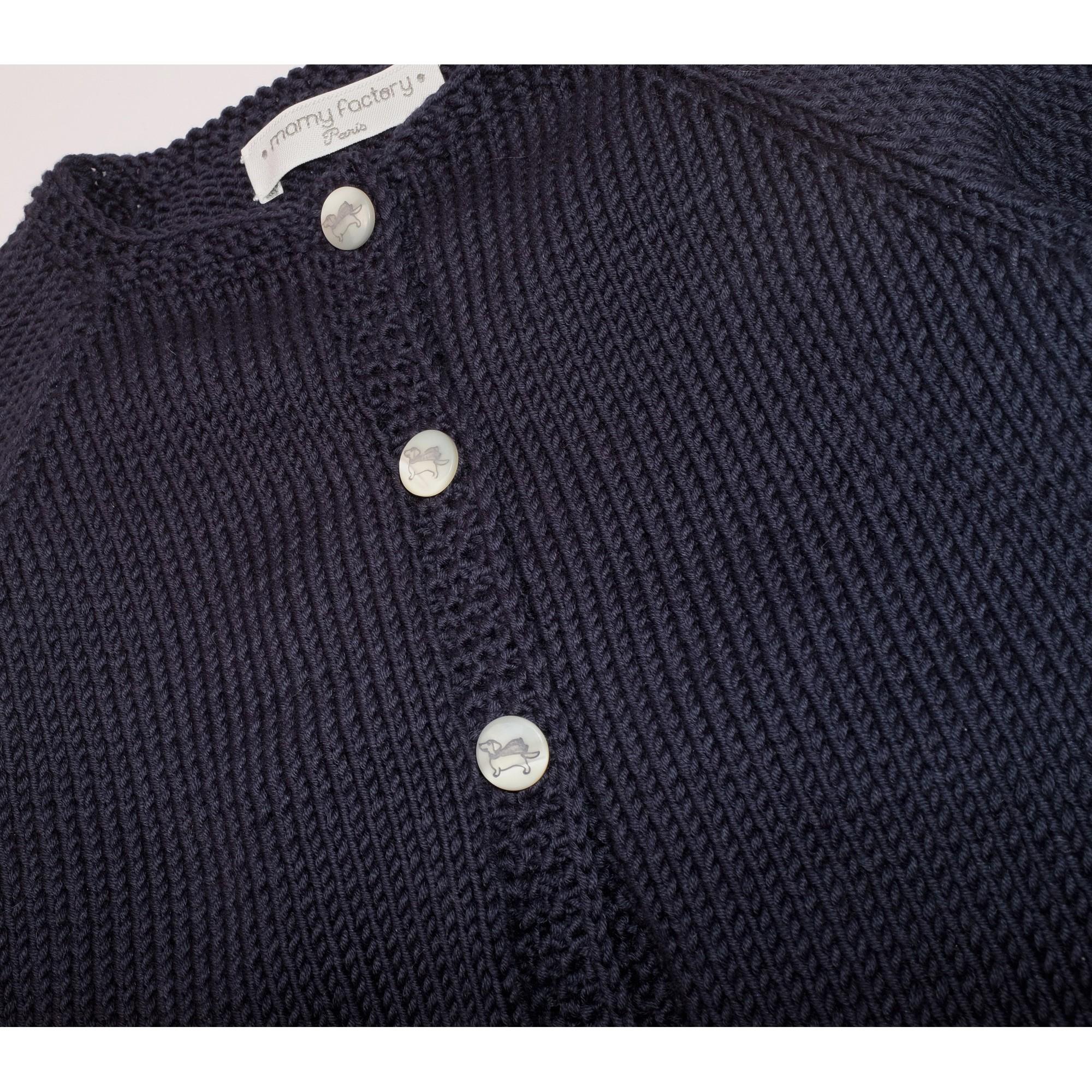 Gilet Marie-Louise bleu marine coton détail 2