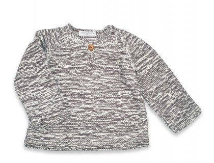Basile sweater kid flecked grey cotton bamboo cashmere