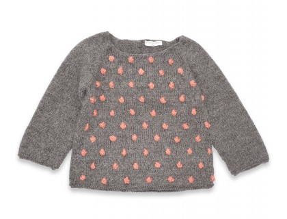 Eugène sweater kid grey with pink nopes wool alpaca