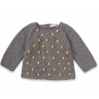 Eugène sweater kid grey with yellow nopes wool alpaca