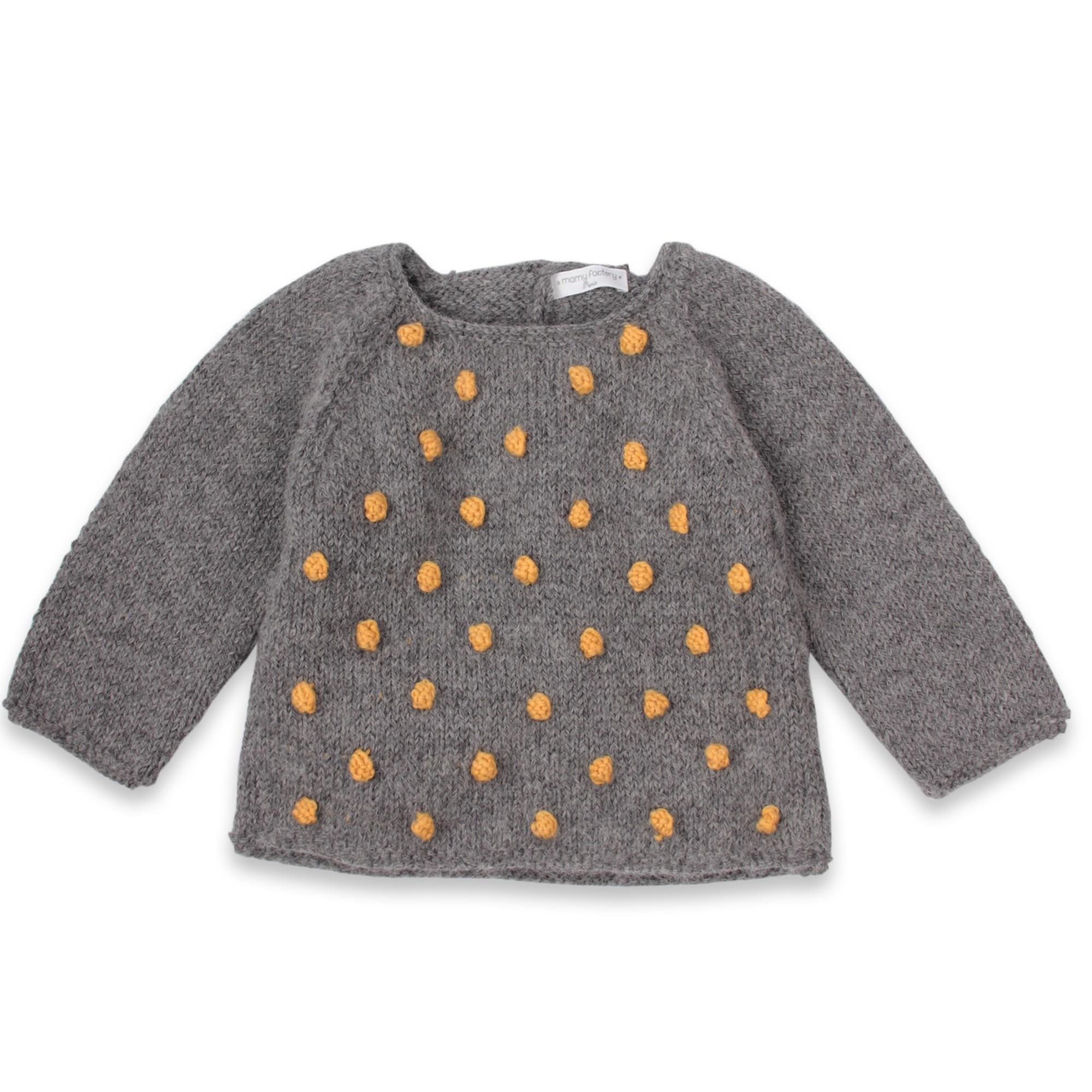 Les tricots de mamy pull enfant gris fonc avec petites boules jaune miel tricot es en relief - Comment raviver un vetement noir ...
