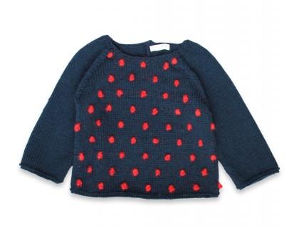 Pull Eugène enfant bleu nuit nopes rouge laine alpaga
