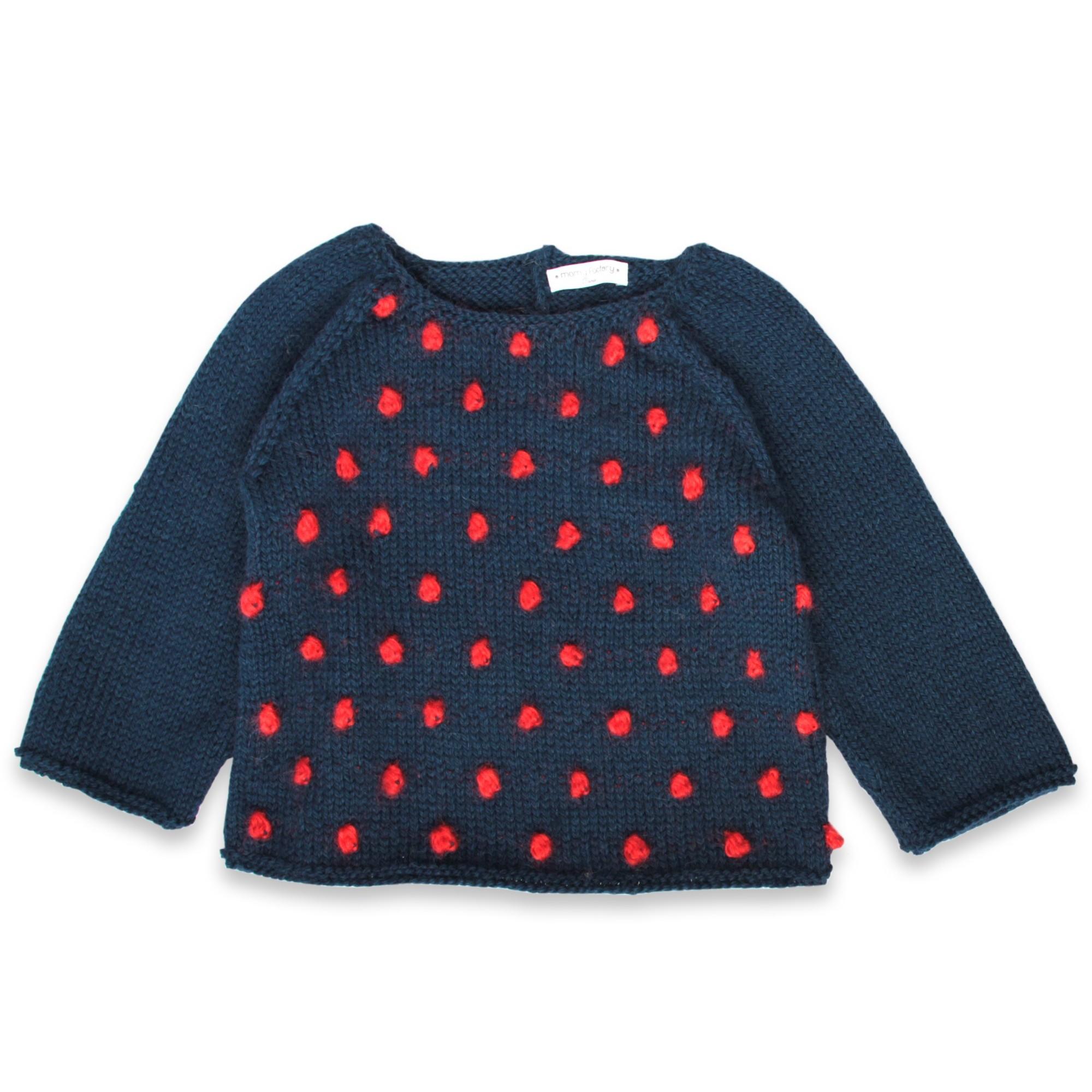 les tricots de mamy pull enfant marine avec petites boules rouges tricot es en relief sur le. Black Bedroom Furniture Sets. Home Design Ideas