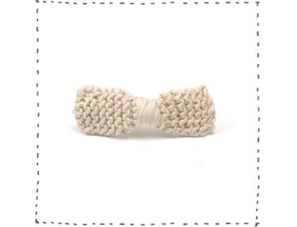 Barrette noeud tricotée sable coton