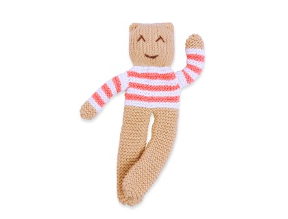 Knitted Teddy bear cotton bamboo cashmere coral pink stripes