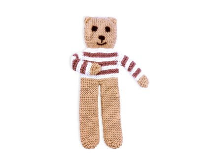 Ourson tricoté coton bambou cachemire rayé chataigne