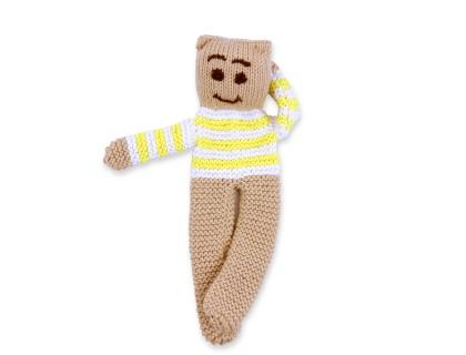 Ourson tricoté coton bambou cachemire rayé citron