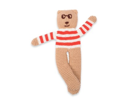Knitted Teddy bear cotton bamboo cashmere red stripes