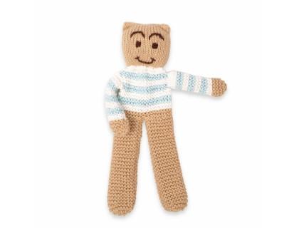 Ourson tricoté coton bambou cachemire rayé bleu ciel