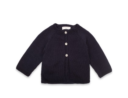 Marie-Louise Cardigan navy blue cotton baby kid