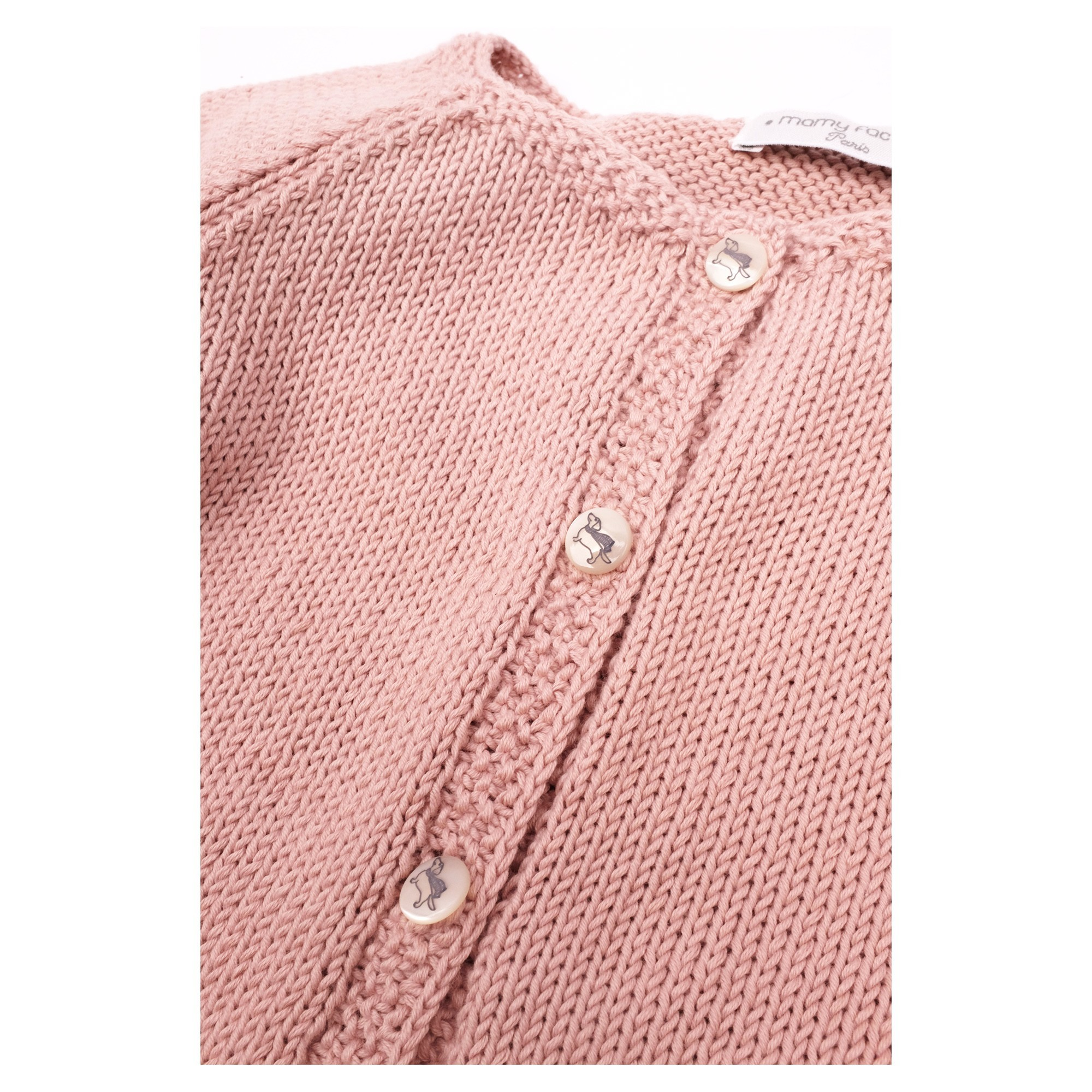 Marie-Louise Cardigan opaline pink cotton detail