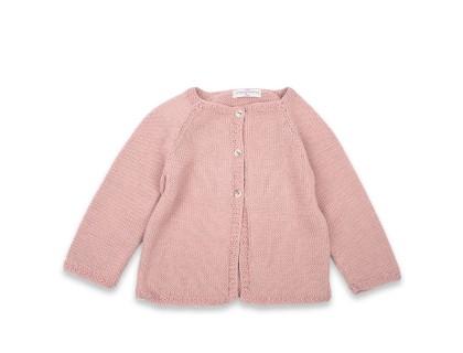Gilet Marie-Louise rose opaline coton bébé enfant