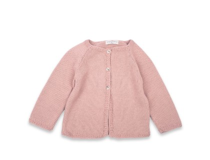 Marie-Louise Cardigan opaline pink cotton baby kid