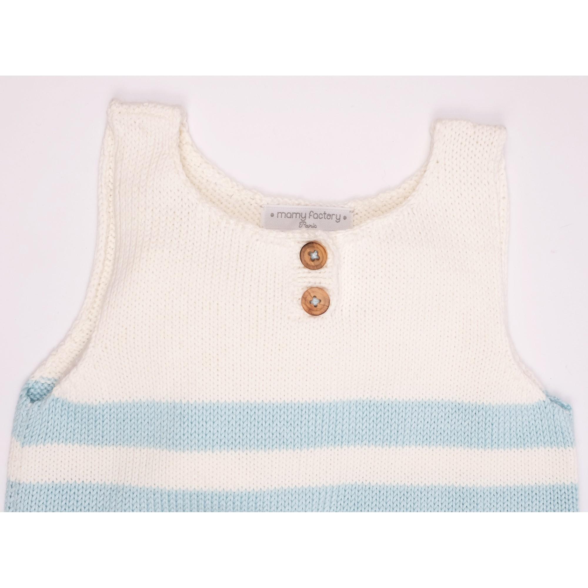 Robe Augustine rayée bleu bambou coton détail