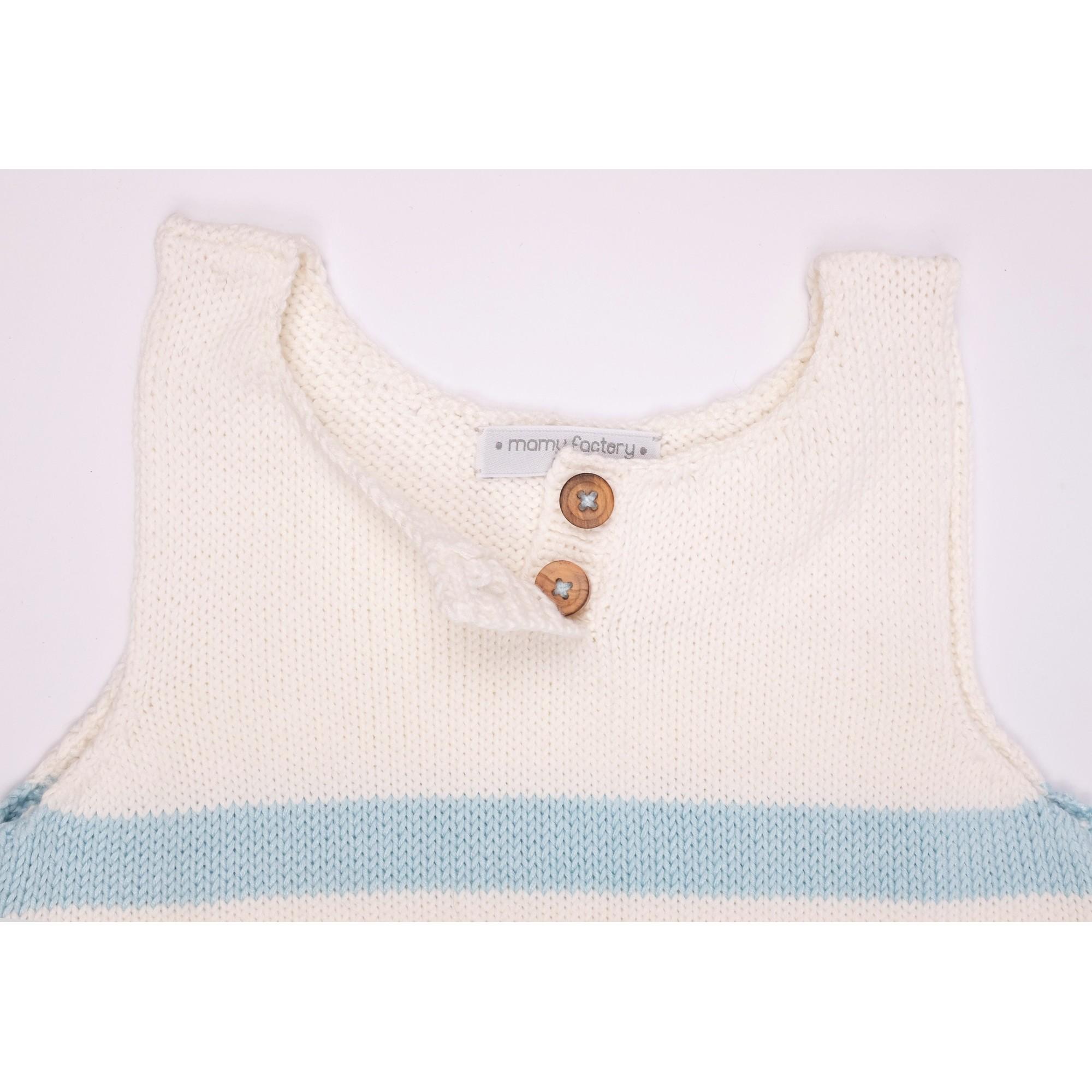 Robe Augustine rayée bleu bambou coton détail 2