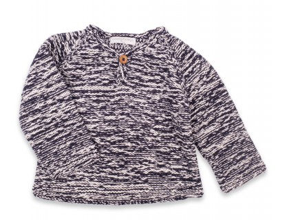 Basile sweater kid flecked navy blue cotton bamboo cashmere