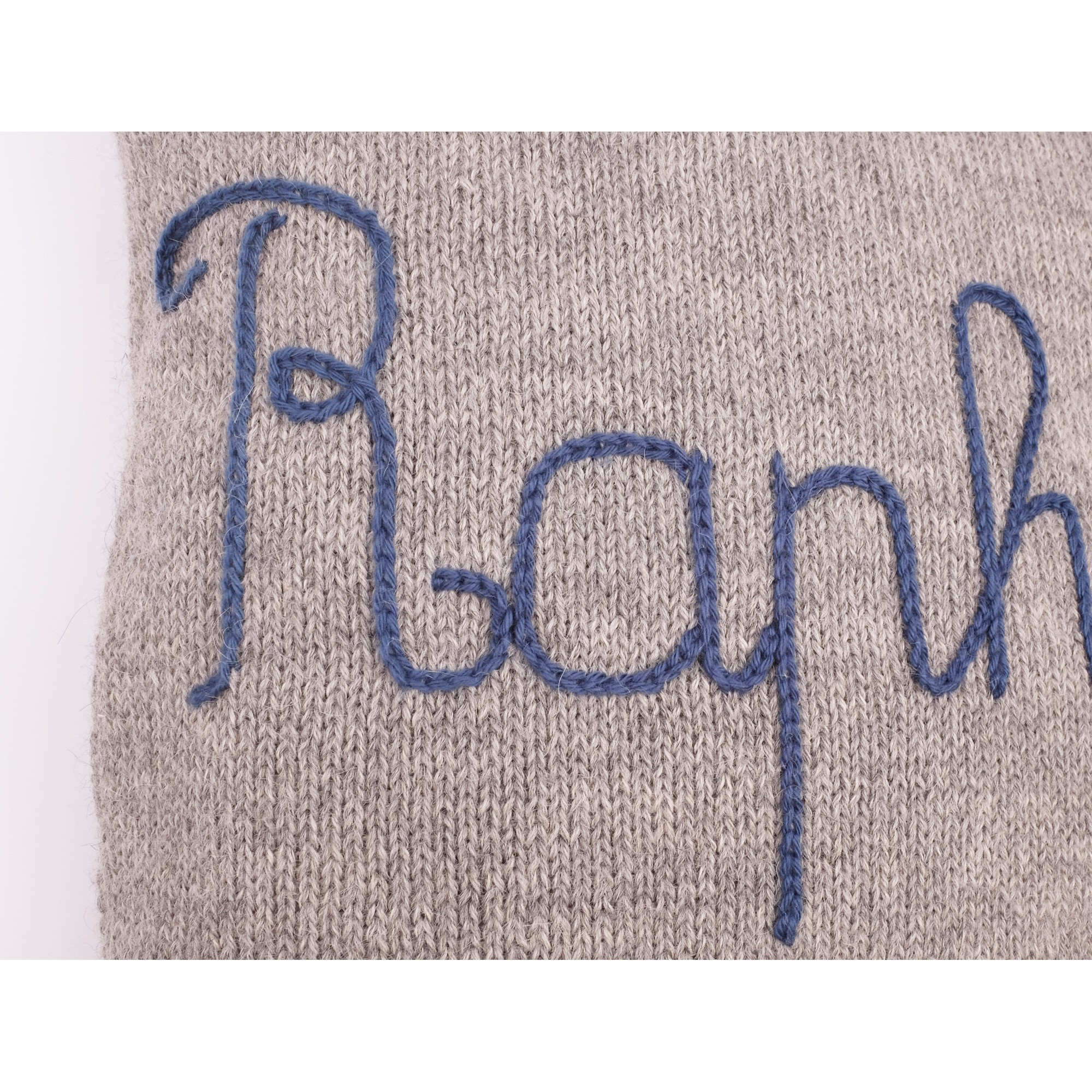 Customizable cushion grey with blue embroidery