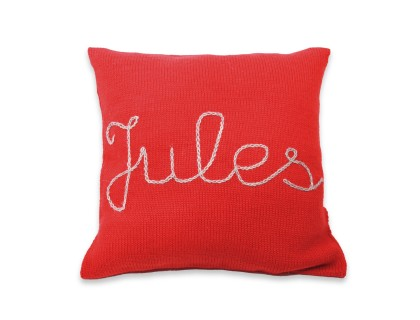 Customizable cushion red with grey embroidery 100% alpaca
