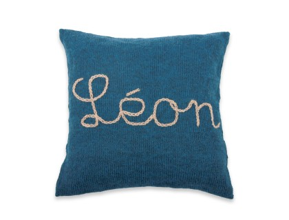 Customizable cushion blue with natural white embroidey 100% alpaca