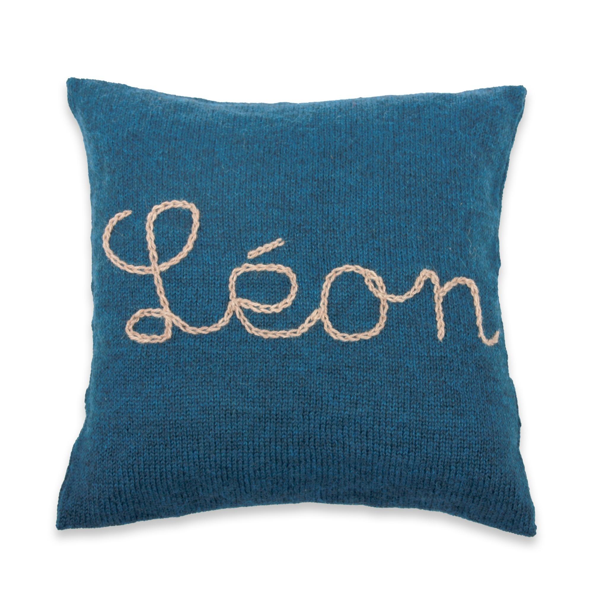 les tricots de mamy coussin tricot bleu100 laine d 39 alpaga brod pour cadeau de naissance. Black Bedroom Furniture Sets. Home Design Ideas