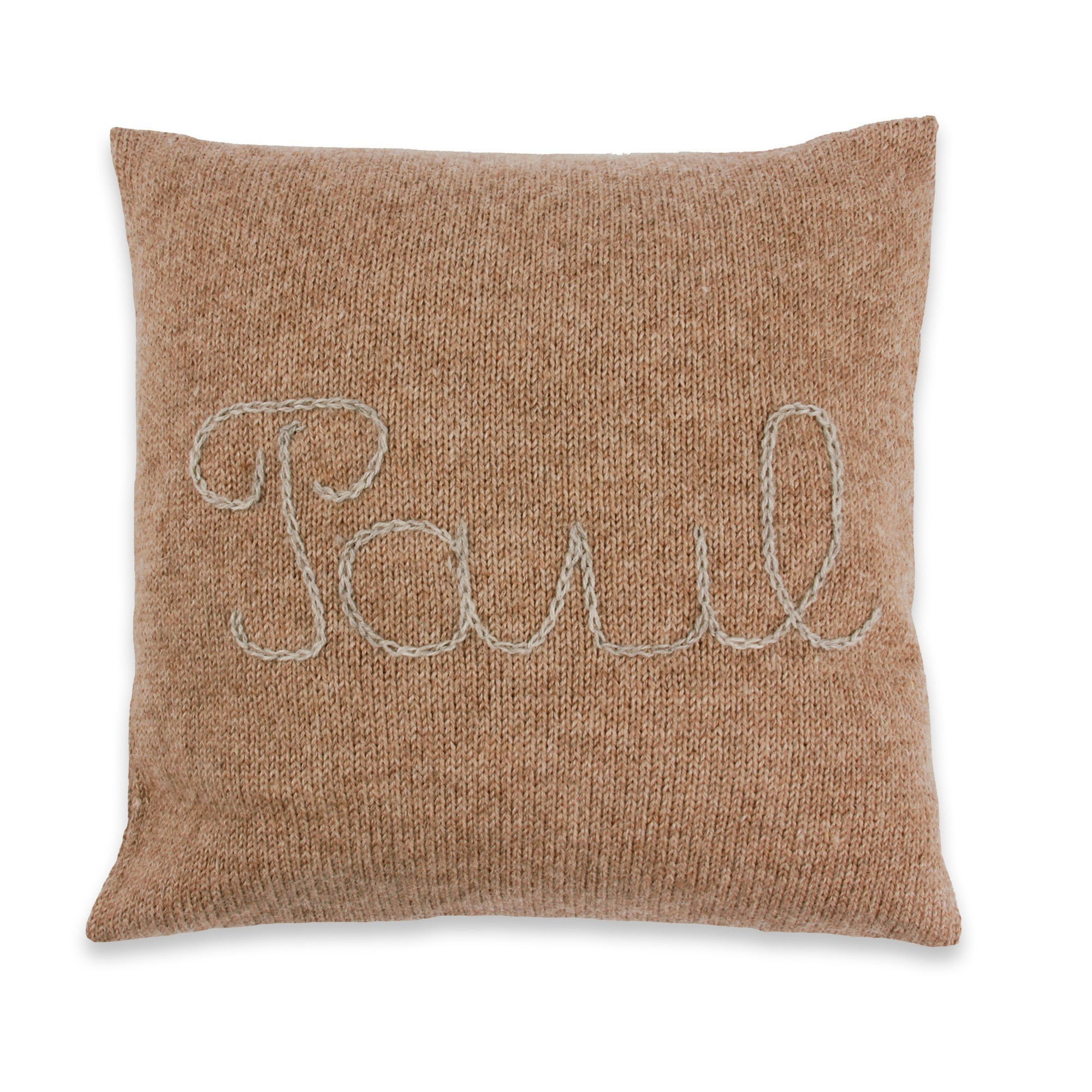 Coussin personnalisable chataigne broderie grise 100% alpaga