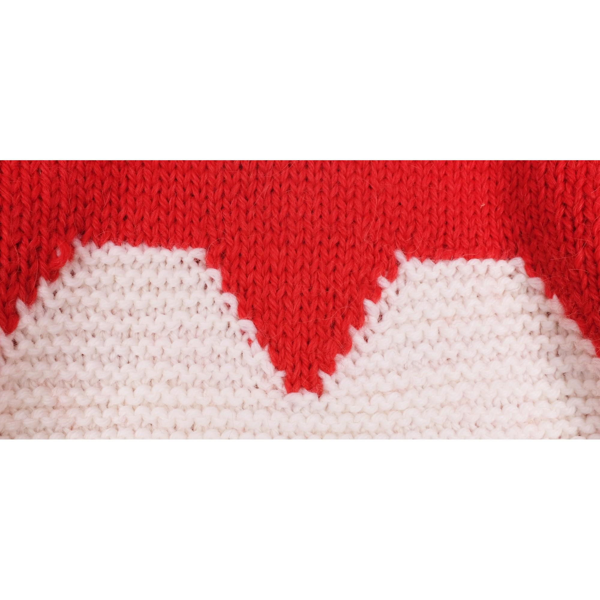 Pull Agénor laine alpaga rouge coeur blanc bébé détail 2