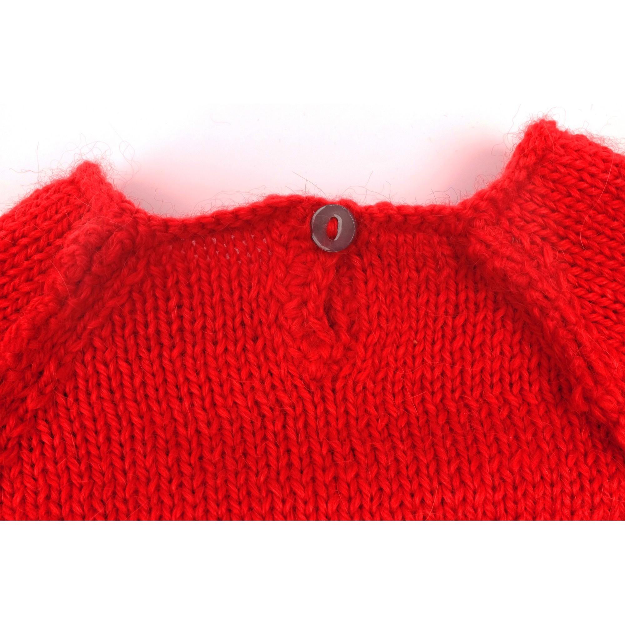 Pull Agénor laine alpaga rouge coeur blanc bébé détail 3