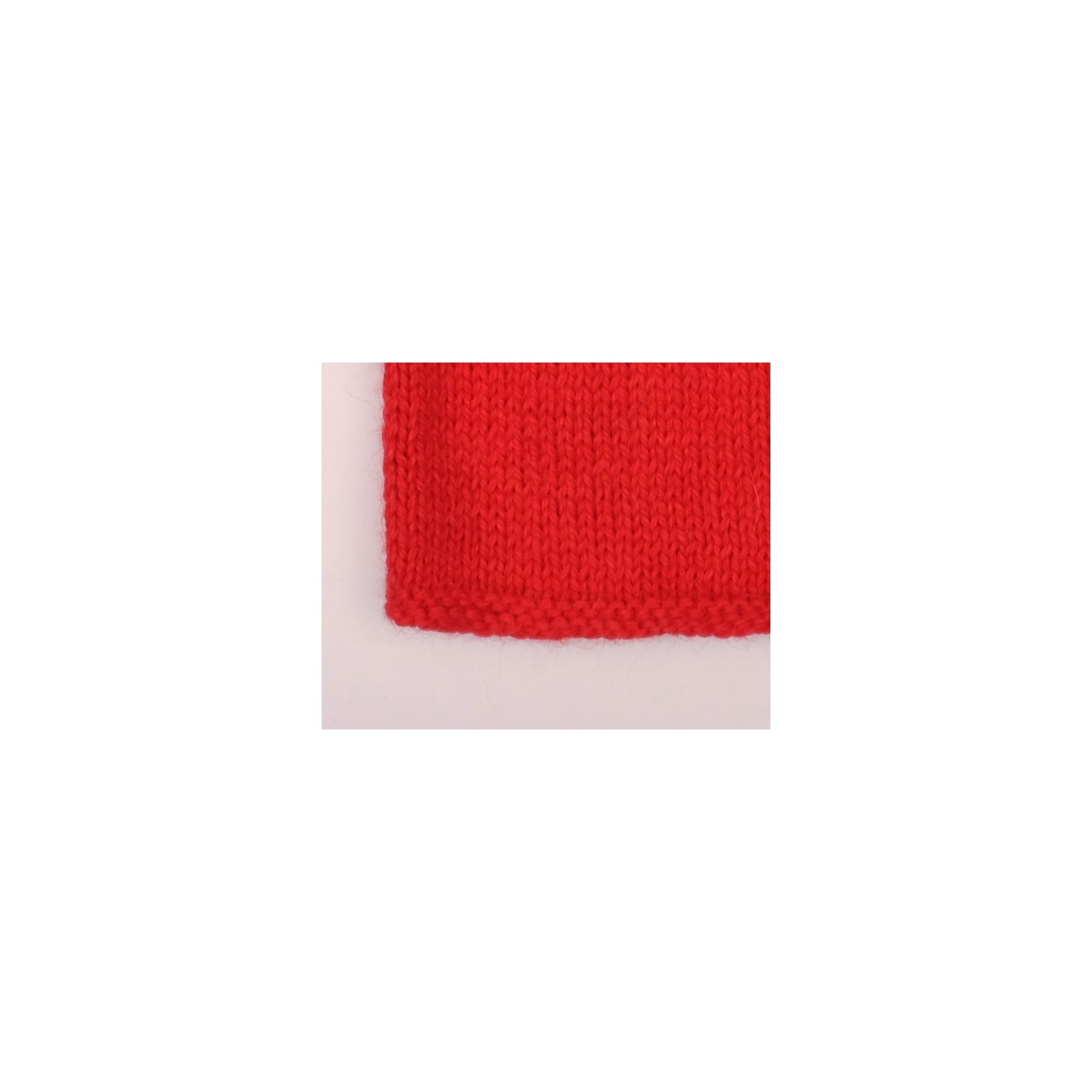 Pull Agénor laine alpaga rouge coeur blanc bébé détail 4