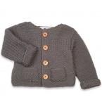 Gilet Simone gris ardoise 100% laine bien chaud pour bébé