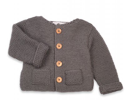 Gilet Simone gris ardoise 100% laine bien chaud pour enfant