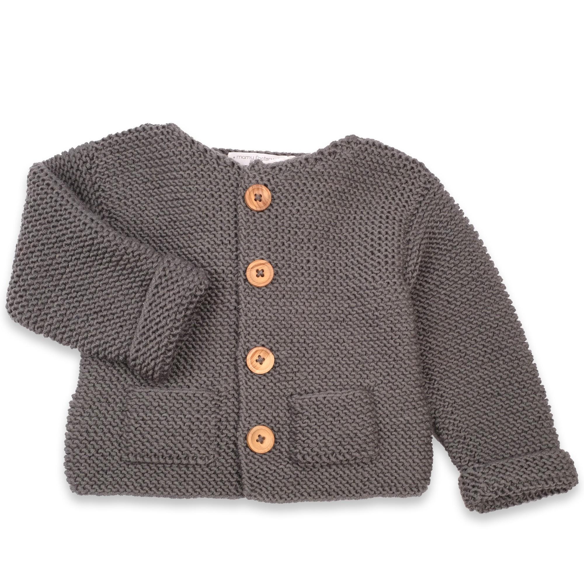 les tricots de mamy gros gilet enfant coloris gris ardoise avec deux poches sur le devant. Black Bedroom Furniture Sets. Home Design Ideas