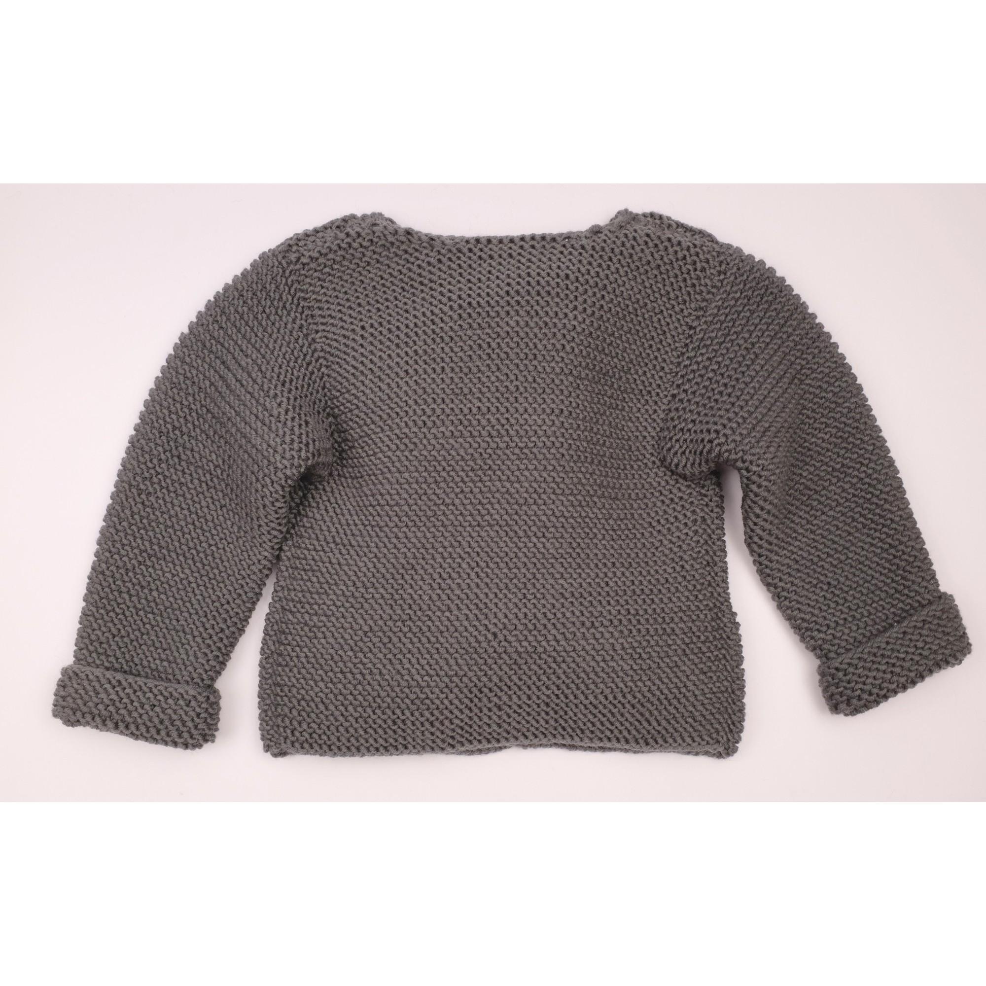 Gilet Simone gris ardoise 100% laine bien chaud dos