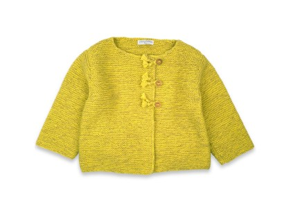 Marie-Jeanne cardigan flecked lime green color for kid