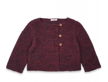 Marie-Jeanne cardigan flecked burgundy kid