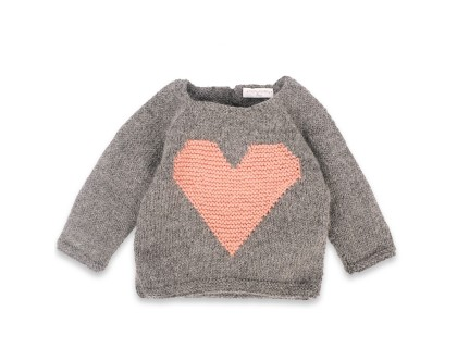 Agénor sweater alpaca grey with pink heart for kid
