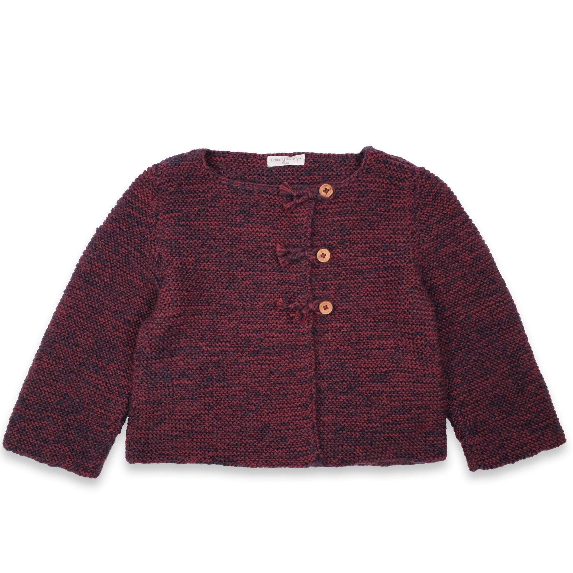 les tricots de mamy gilet b b bordeaux chin tout en point mousse en laine et mohair mamy. Black Bedroom Furniture Sets. Home Design Ideas