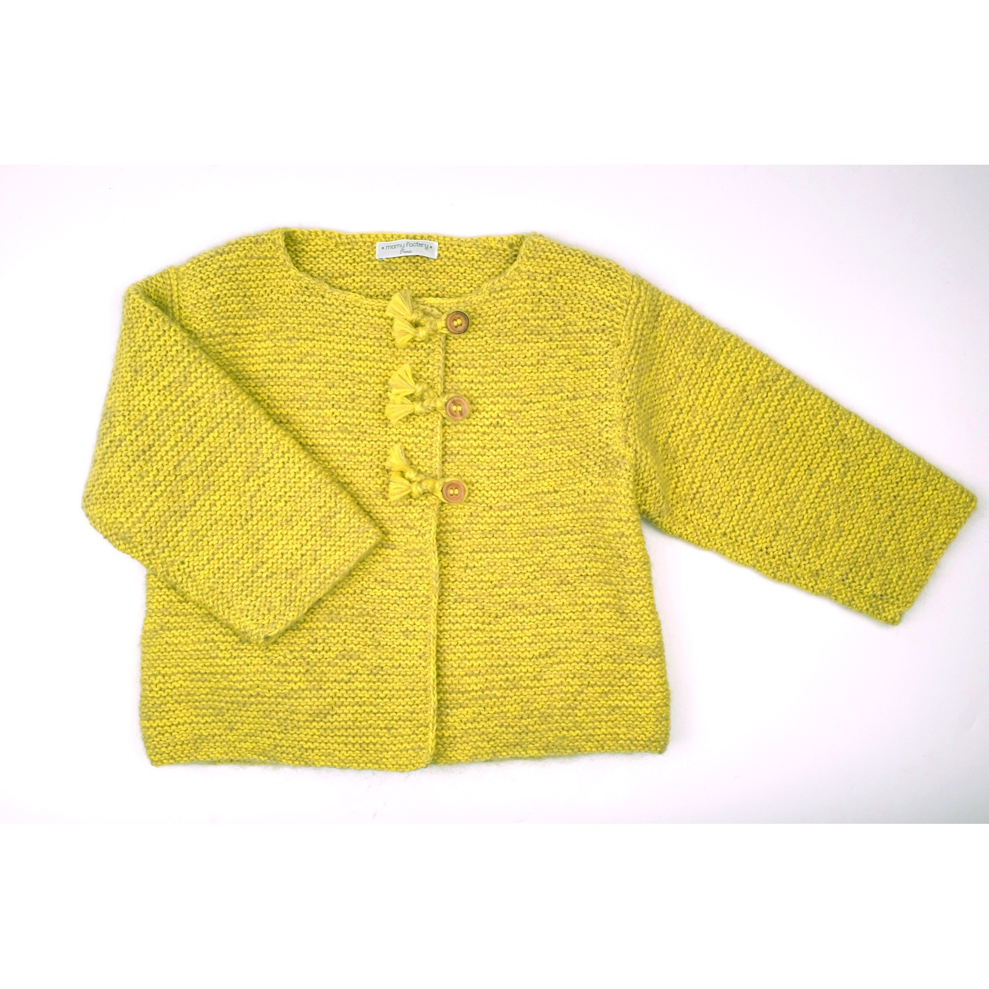 Marie-Jeanne cardigan flecked lime green color for baby 2